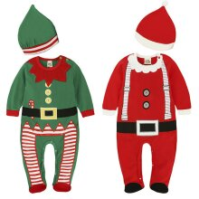 Boy Girl Santa Elf Romper Christmas Jumpsuit Hat Xmas Party Fancy Dress Outfit