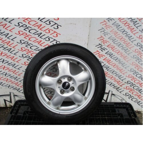 Mini Cooper One R55 R56 06-13 Single Alloy Wheel + Tyre 15 Inch 6768498 Vs8495 - Used