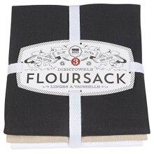 Now Designs Floursack Kitchen Towels, Set of Three, Black/Oyster/White