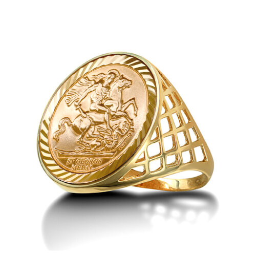(S) Jewelco London Men's Solid 9ct Yellow Gold St George Dragon Slayer Basket Full-Sovereign-Size Ring