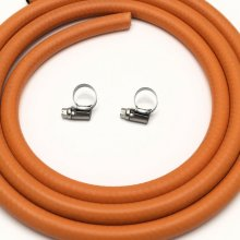 2m 8mm I/D LPG Butane/Propane Gas Hose With 2 W2 Stainless Hose Clips