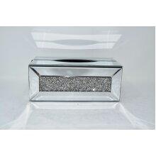 Glass CRYSTALLIZED MIRRORED GLASS TISSUE BOX HOLDER