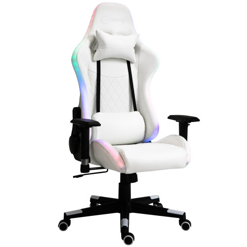 Vinsetto Gaming Chair w/ RGB LED Light, Arm, Swivel Office Gamer Recliner, White