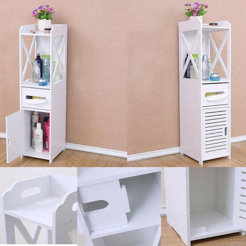 White Bathroom Furniture Cabinet Wood Slim Shelf Cupboard Storage