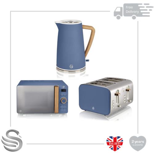 Swan Nordic 1.7 Litre Jug Kettle, 4 Slice Toaster & 800W Freestanding Microwave in Blue