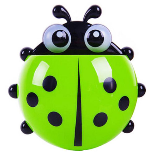 Lovely Ladybird Wall Mounted Toothpaste Toothbrush Holders Dispensers- Green