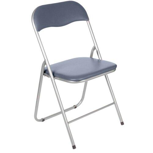 Folding Chair Folding Grey Pvc Wipe Down Padded Seat