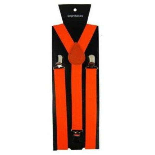 Unisex Novelty Fancy Dress Fashion Braces Bright Neon Orange One Size