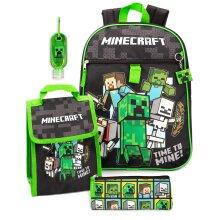 Minecraft Backpack & Lunch Box Kids 5 Piece School Rucksack Bag Set One Size
