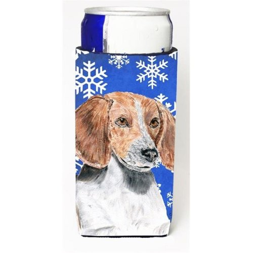 English Foxhound Blue Snowflake Winter Michelob Ultra bottle sleeves For Slim Cans - 12 oz.