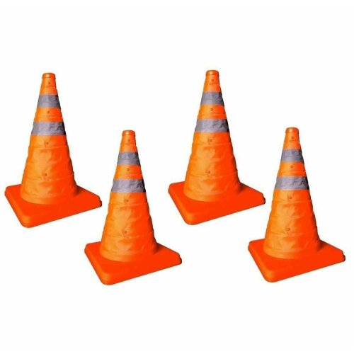 4 x 18 Pop Up Collapsible Portable Safety Cone Football Traffic Posts Driving