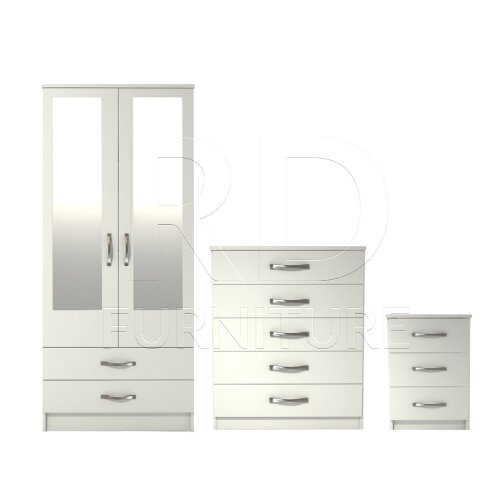 Ready assembled 3 Pcs Classic 2 Door 2 Drawer Mirrored Wardrobe, Chest And Bedside Set White