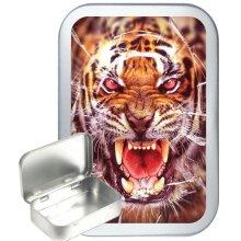 Tiger Glass 50ml Silver Hinged Tobacco Tin, Gift Tin