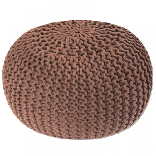 Large 50cm Round Cotton Knitted Pouffe Ball Foot Stool Braided Cushion Seat Rest[Latte]