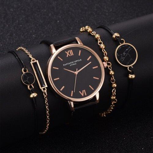 Watch Set 5pcs Woman Quartz Wristwatch Leather Ladies Bracelet