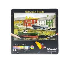 I Create Watercolour Pencils - 24 Set in a Tin Box   Aqua Premium - Artists' Quality   Set of 24 Vibrant Colours   FSC Certified