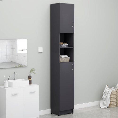 Bathroom Cabinet Grey 32x25.5x190 cm Chipboard