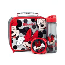 Disney Minnie Mouse Lunch Box 3 Piece Kids Bag Water Bottle Snack Pot One Size