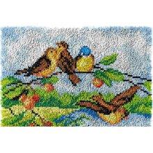 Birds on a Tree Rug Latch Hooking Kit (64x48cm blank canvas)