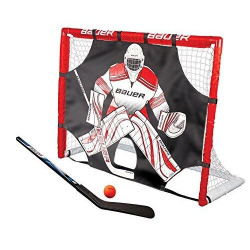 Bauer Street Hockey Goal Set with Bat, Ball & Shooter I Outdoor/Indoor Door Goal with Shooting Target I PVC Frame I Hockey Balls and Pucks I Street
