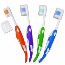 Childrens Toothbrushes (Set of 4)  Orca-Shaped Brushes with Covers for Kids Teeth, 3 years +
