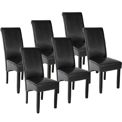 6 Dining chairs with ergonomic seat shape - black