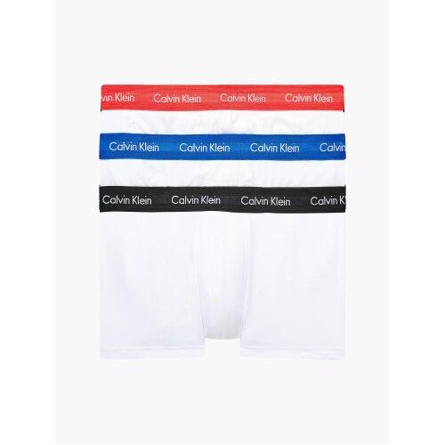 Calvin Klein 3 Pack Low Rise Trunks Men's  – ( WHITE- BLUE/ STRAWBERRY FIELD/ BLACK )