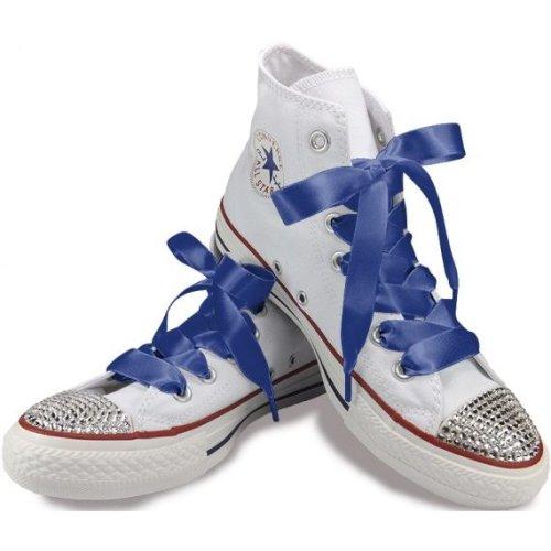 Cobalt Blue Ribbon Shoelaces For Trainers, Shoes & Boots