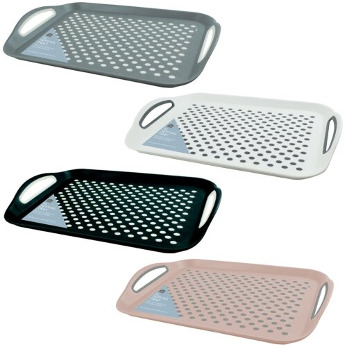 GEEZY Rectangular Non-Slip Top and Bottom Food Serving Lap Tray Carry Handles Kitchen