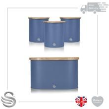 Swan Nordic Bread Bin Bamboo Cutting Board Lid & 3 Storage Canisters Set Steel