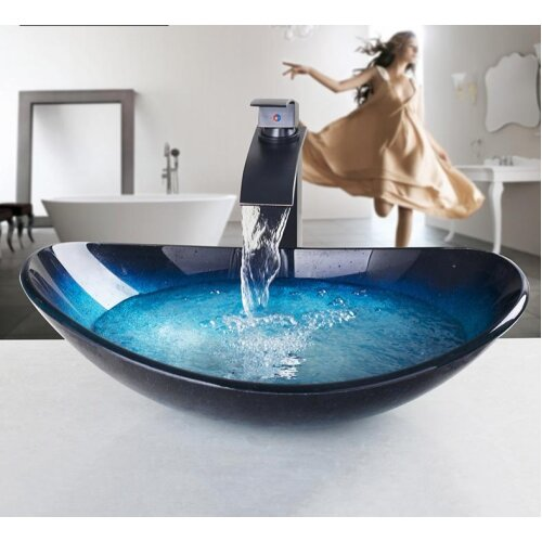 (As Seen on Image) Counter Top Round Taps, Sink Faucet Vessel Drain, Bathroom Sink Vanity Waterfall Spout, Chrome Tap, Bath Set Faucet