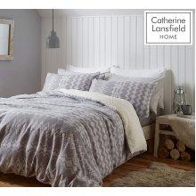 Catherine Lansfield Alpine Fleece King Duvet Set Grey