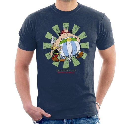 (Large, Navy Blue) Asterix And Obelix Retro Japanese Men's T-Shirt