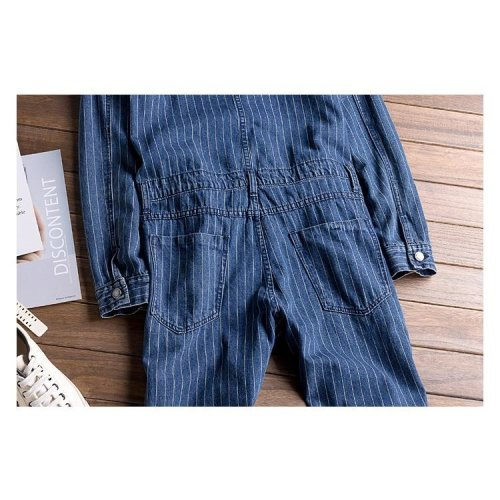 Men S Fashion Stripe Printed Denim Jumpsuits Long Sleeve Letters Embroidered Overalls Jeans Set On Onbuy