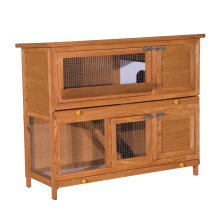 PawHut Pet Cage Rabbit Hutch Large Wooden Double Decker 120x 48 x100cm