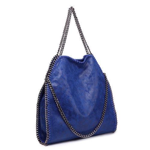 (Navy) Miss Lulu Women Shoulder Handbag PU Leather Chain Clutch Bag