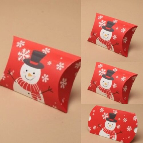 (Snowman, 8.8x8x3 cms) Christmas Gift Box Pillow Pack Bag Present Wrapping Gift Wrap