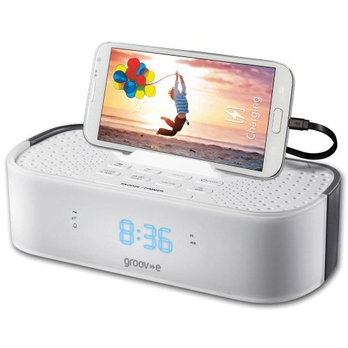 Groov-e TimeCurve Alarm Clock Radio with USB Charging Station White (GVSP406WE)