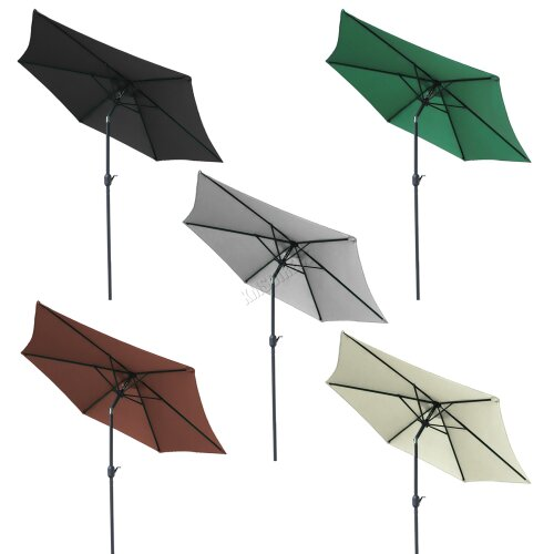 BIRCHTREE Garden Parasol Tilt Crank Patio Sunshade Umbrella Aluminium 2.5/2.7/3M