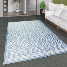 Outdoor Rug Light Blue Cream Diamond Large XL Small for Garden Patios Decking Gazebo Soft Woven Geometric Mat
