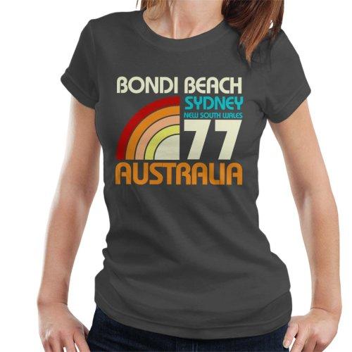 (Large, Charcoal) Bondi Beach Retro 77 Women's T-Shirt