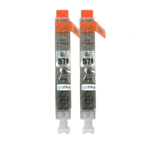 2 Go Inks Grey Ink Cartridges to replace Canon CLI-571GY Compatible / non-OEM for PIXMA Printers