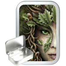 Mother Earth 50ml Silver Hinged Tobacco Tin, Gift Tin