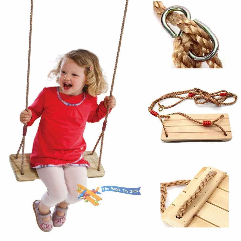 Set Wooden and Rope Garden Swing /& Rope Ladder Toy Child Outdoor Safety Play