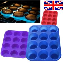 12 LARGE SILICONE MUFFIN YORKSHIRE CUPCAKE MOULD