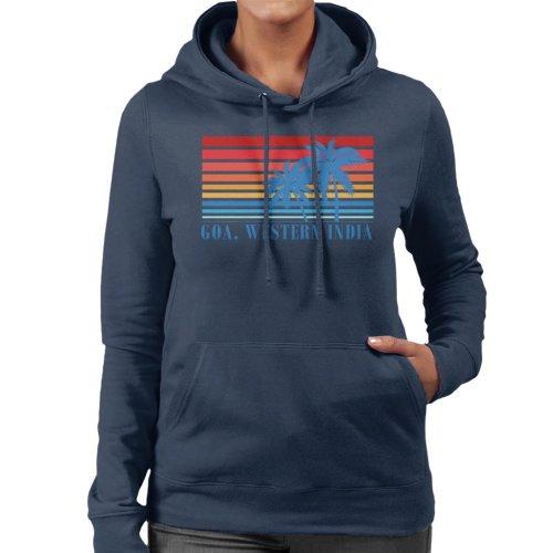 (X-Large, Navy Blue) Goa Western India Palm Trees Women's Hooded Sweatshirt