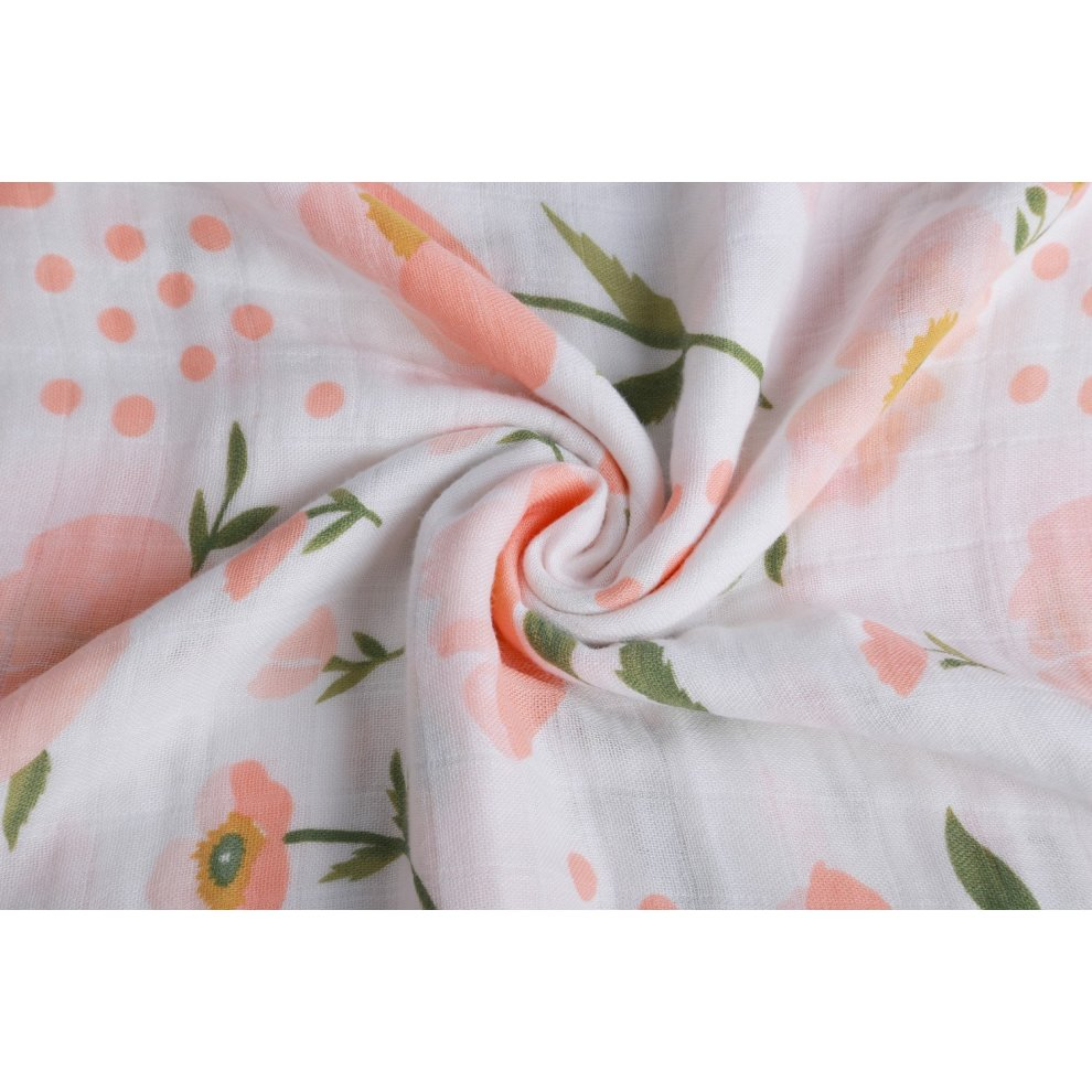 Floral Clearance Sale Ultra Soft Bamboo Baby BlanketFloral Print Muslin Swaddle Blankets 47 x 47 inches Baby Swaddle wrap for Girl by Little Jump.