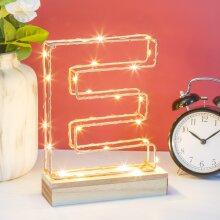 Light Up Letters E | Wire Frame Copper Letter Lights | Bedroom Decor |