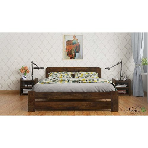 (WALNUT) New Solid Wooden Pine Super King Size Bed 6ft UK Size - F1