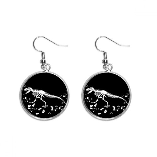 Dinosaur Bone Bones Medium Ear Dangle Silver Drop Earring Jewelry Woman